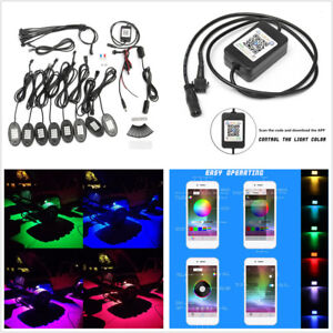 8xRGB Colors LED Rock Light UnderBody Car Offroad Wireless Bluetooth APP Control