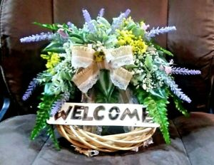 FLORAL  SPRING  WILLOW WREATH ABOUT 9 INCH BASE WITH WELCOME SIGN