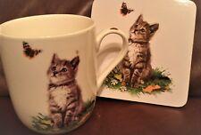 MacNeil (MATCHING) Playful Cats (Grey) Fine China Mug & Coaster