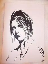 A4 Black Ink Marker Pen Sketch Drawing Sarah Michelle Gellar as Buffy Slayer B