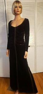 Vintage Lillie Rubin BROWN VELVET LONG SLEEVE GOWN MAXI DRESS size small