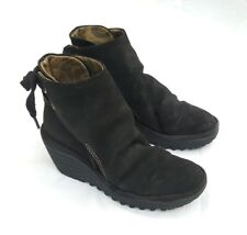 """FLY LONDON BLACK SUEDE SLOUCH LOOK 2.5"""" WEDGE HEEL ANKLE BOOTS UK4 EU37"""