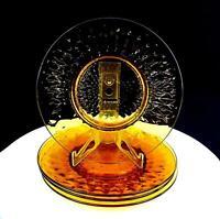 "ELEGANT DEPRESSION GLASS AMBER DIAMOND OPTIC 4 PC 8 1/8"" SALAD PLATES 1930-1950"
