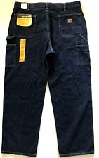 Mens Carhartt Jeans Original Dungaree Fit Straight Leg Dark Denim Size 40 x 32