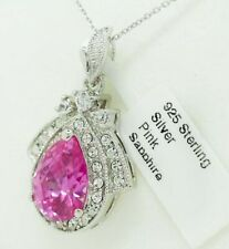 PINK SAPPHIRE  8.46 Cts & WHITE SAPPHIRES PENDANT NECKLACE .925 SILVER ** NWT