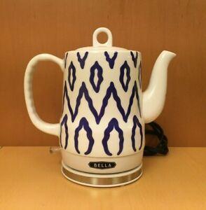 Bella Electric Ceramic Tea Kettle White & Blue 1.2 Liter