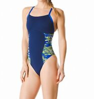Speedo Womens Swiwmear Yellow Blue Size 30 Endurance+ Flyback One-Piece $84 181