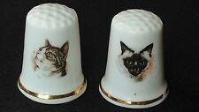 TWO 2 CAT KITTEN TABBY ILLUSTRATED BRITAIN BONE CHINA SOUVENIR THIMBLES