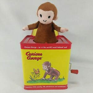Schylling Classic Curious George Monkey Musical Jack in the Box Wind Up Tin Toy