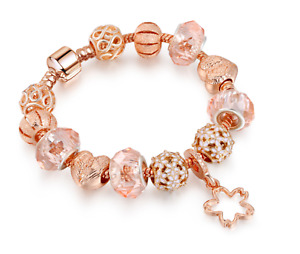 Rose gold plated Valentine's Hearts Angel Wings Charms Girlfriend Woman Bracelet