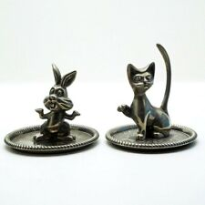 More details for vintage silver plated cat and bunny rabbit trinket trays
