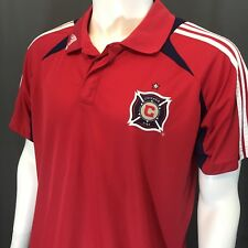 Adidas ClimaCool Formotion Chicago Fire MLS Red Polo SS Shirt Size Men's Large