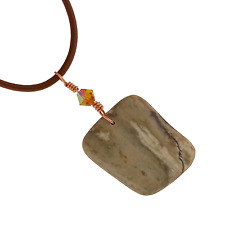 Arizona Petrified Wood Artisan Pendant Necklace A047-10 Leather Cord Transform