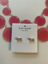 BN Kate Spade Pink Diamente Bow Stud Earrings With Pouch