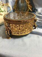 Vintage Gold Gilt Ormolu Glass Jewelry Trinket Box Casket Round