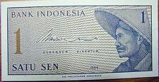 Indonesia 1 Sen 1964 Banknote Indonesian Rare Scarce Paper Money P#90 UNC