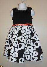 Pinky Girls Bling Sequin Collar Dress + Patent Belt Black & White Four (4) NWT