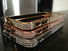 Clearance Crystal bumper for iphone 5,GOLD/CLEAR crystal bling case