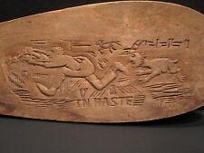 ANTIQUE AMERICAN FOLK ART PRESSED WOOD GAME PADDLE DOG CHASE PITBULL? NUMEROLOGY