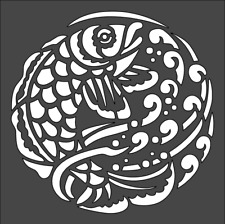 1- 5x5 inch Custom Stencil, (B27) Fish Design, Free Shipping