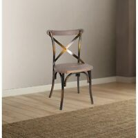 Industrial Style Wood and Metal Armless Side Chair, Brown and Copper