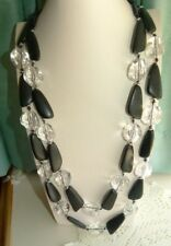 JEWELLERY LOVELY BLACK & CLEAR GEOMETRIC 2 STRAND STATEMENT NECKLACE 586