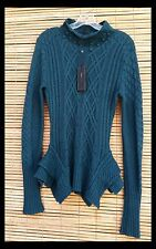 NWT BCBGMaxazria Cardigan Dark-teal Long Sleeve Cable-Knit Sweater Sz. Small