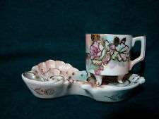 Vintage Japan Tiny Fancy Demitasse Footed Tea Cup & Saucer Spoon Rest