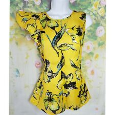 NWT One Sleeve Ruffled Top Floral  Sz 0 Mustard Blouse Floral  J.Crew