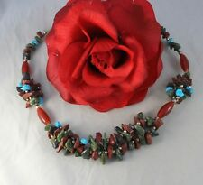 """Gorgeous Gemstone & Glass 19""""  Beaded Necklace CAT RESCUE"""