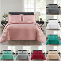 3 Piece Embossed Quilted Bedspread Bed Throw Single Double King Size Bedding Set