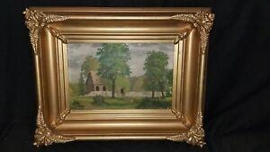 19thC Antique Barn? Country Landscape Folk Art Painting Frame Martan