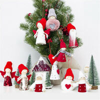 New Ornament Toy Cloth Doll Wooden Christmas Tree Hanging Ornament Xmas Decor---