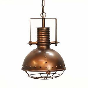 Industrial Pendant Factory Dock Light Copper Painted with Rivets Cage Cover