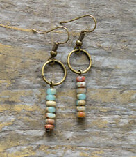 Jasper Agate Natural Stone Drop Dangle Earrings Circle bronze Boho Blue beaded