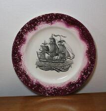 """Vtg Gray's Pottery Purple Pink Sunderland Ship Lustre Splatter Plate 10 1/2"""""""
