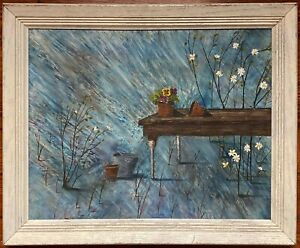 Vintage signed outsider art painting Potting Table with Psychedelic background