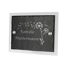 Schieferplatte Türschild mit Acrylglas inkl. Gravur Motiv Pusteblume