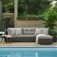 Hawthorne Collections Outdoor Convertible Sectional Sofa Set in Brown