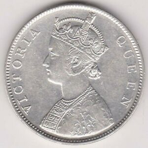 BRITISH INDIA-1862-2/0 DOTS VRIETY-ONE RUPEE-VICTORIA QUEEN-RAREST SILVER COIN