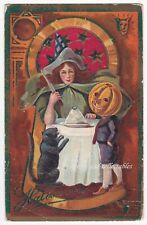 Antique HALLOWEEN Postcard - WITCH, BLACK CAT, J'OL HEADED BOY, DEVIL? p/u 1910