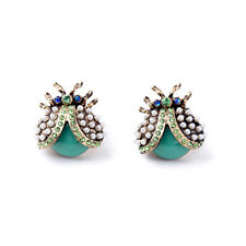 Green Crystal Lady Bug Pave Seed Pearls Insect Mint Resin Beads Stud Earrings