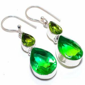 """Bi-Color Tourmaline, Peridot 925 Sterling Silver Jewelry Earring 2.0"""""""