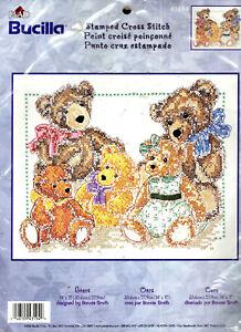 "Bears Bucilla STAMPED / PRINTED Cross Stitch Kit LARGE - 14"" x 11"" BRAND NEW!"