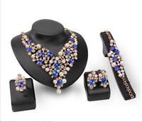 Women Bridal Wedding Jewelry Necklace Earring Crystal Rhinestones Jewelry Sets