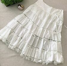 COUPE White Prairie Petticoat Skirt SZ L Lace Midi Boho Rockabilly Cowgirl