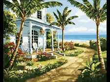 """Diy Paint by Number Kit with Framed Canvas 16"""" x 20"""" Island Plantation"""