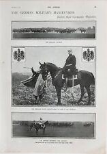 1900 Estampado Militar Manoeuvres Caballería Attack Alemán Emperador Generales