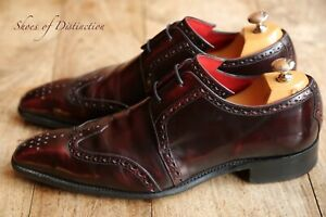 Men's Jeffery West Burgundy Brown Leather Lace Up Brogue Shoes UK 9.5 US 10.5