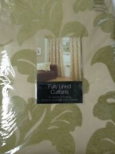 "Maverick Woven GOLD / GREEN Jacquard Leaf 66"" x 72"" Lined Curtains & Tiebacks"